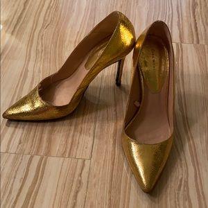 Zara Gold Metallic Pumps Heels 38 37 7.5
